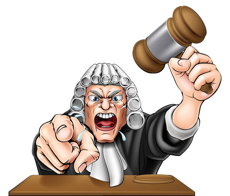 42598787 - an illustration of an angry judge cartoon character shouting and pointing at the viewer